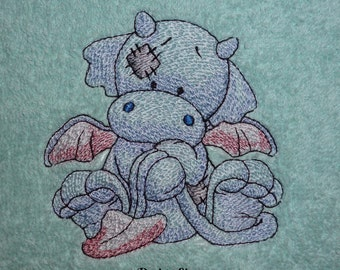 Flame the Dragon Design (185) - Embroidered Personalised Fleece Baby Blanket