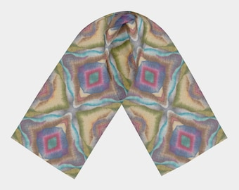 Landscape Diamond Woven Printed Silk Scarf Number 1