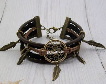 "Bracelet brown leather Dream catcher collection ""Camp Apache Wanted"""