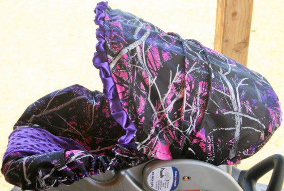 Pink And Purple Muddy Girl Camo Infant Car Seat Cover And Hood