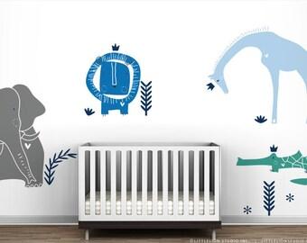Royal Safari Wall Decal Mural by LittleLion Studio. Blue Boy's Room Wall Decor. Blue Baby Nursery.
