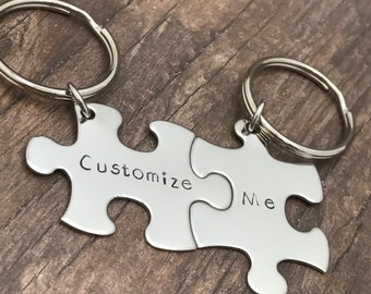 Custom Keychains, Personalized Keychain, Boyfriend Gift, Girlfriend Gift, Puzzle Piece Keychain, Couples Gift, Gifts under 30, Gift for him