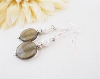 Minimalist Earrings Grey White Earrings Sterling Silver Earrings Handmade, Clip On Earrings, Birthday Gift for Girlfriend, Modern Earrings