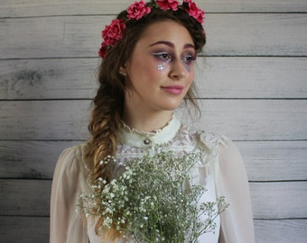 Pink mini rose hairband, summer flower crown, rose headband