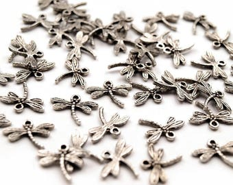 100 Pendant for charm or necklace, Dragonfly, 14 x 18 mm, antique silver
