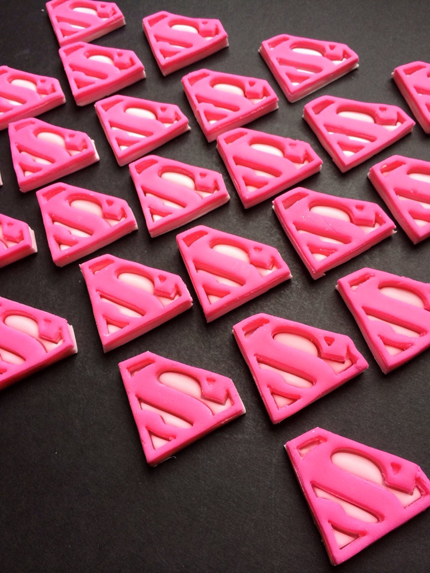Edible Fondant Superman Supergirl Superhero Cupcake Toppers