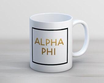 Alpha Phi Faux Foil Mug Sorority Coffee Mug