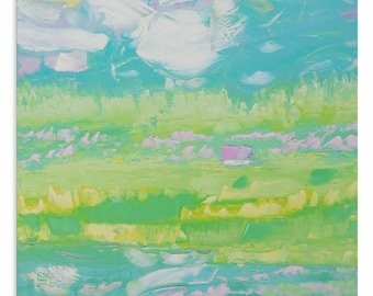 Winds of May - Impasto painting Bright artwork Intuitive art Expressive art Vertical artwork Pastoral painting Impressionistic Alla prima