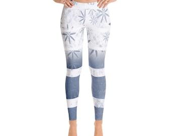 White Stars Leggings gradient, Striped print leggings, ombre leggings, yogagear, gift for her, stretchy leggings, homewear, soft leggings