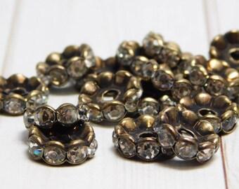 10mm - Rhinestone Beads - Bronze Spacers - Rhinestone Spacers - Rhinestone Rondelle - Wavy Edge - 25pcs - (2977)
