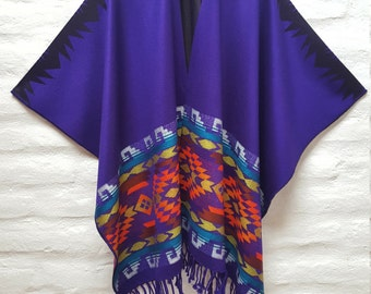 Alpaca Poncho Purple Poncho Wrap made in Ecuador