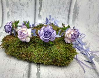 Garland, lilac hair wreath, light purple flower crown, festival hair, bridal, flower girl crown, uk shop, pale purple, floral headdress,