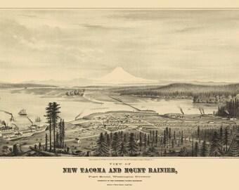 Vintage Map - Tacoma, Washington 1878