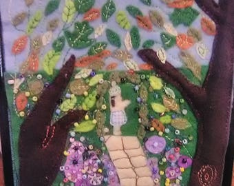 The Secret Garden felted applique embroidered beaded framed picture