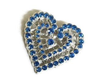 Blue Pave Rhinestone Openwork Heart Brooch Vintage