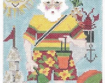 Needlepoint Handpainted KELLY CLARK Christmas August Santa 4x7 -Free US Shipping!!!