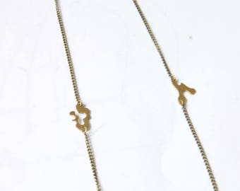 Handmade necklace, brass with inlay brass, possible brass or silver plated brass.