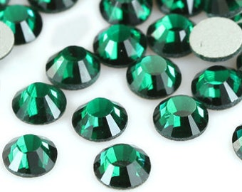1440pcs Green Crystal Flat back Rhinestones (Emerald) size available 2mm 3mm 4mm 5mm 6mm 7mm