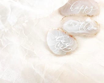 """White Agate Slices Wedding Calligraphy Place Cards 2""""-3.5""""