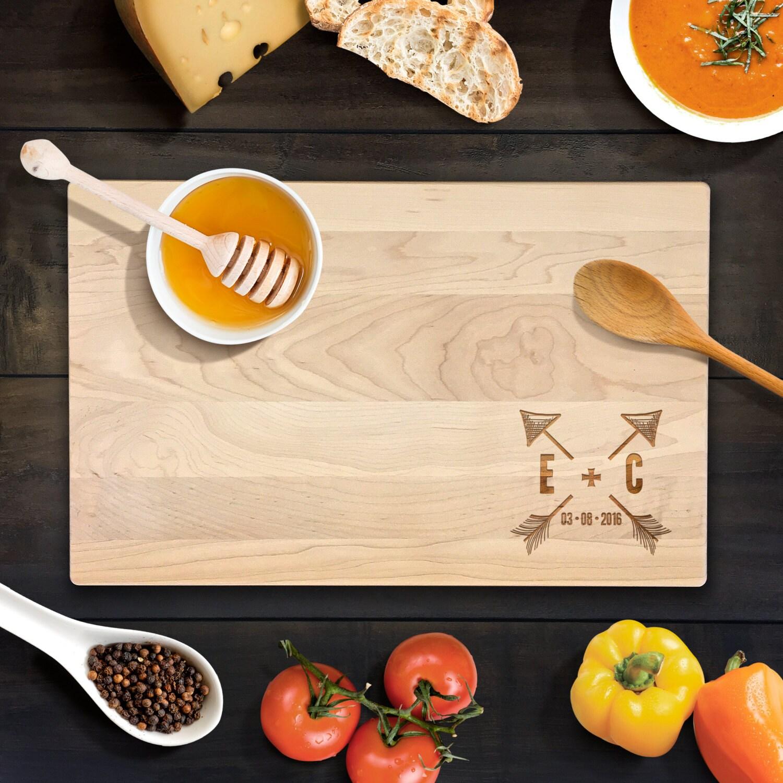 Rustic Wedding Gift Custom Cutting Board Personalized Arrow Wood