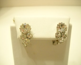 Vintage Pierced Rhinestone Earrings (8506) Prong Set