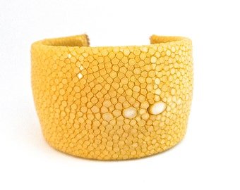 Pearl yellow Stingray leather Cuff Bracelet