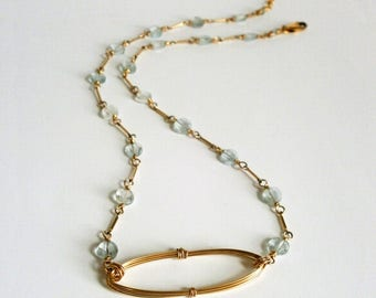 Delicate Aquamarine Gold Oval Necklace Open Circle Blue Gemstone Rosary Chain Necklace March Birthstone Wire Jewelry Blue Wedding