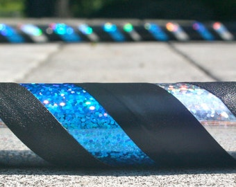Collapsible Hula Hoop- Sub Zero- Blue, black , and silver