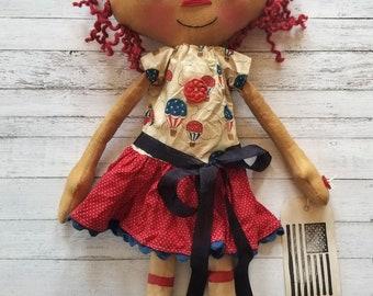 Patriotic 4th of July Hot Air Balloons Annie - Primitive Raggedy Ann Dolls (HAFAIR)