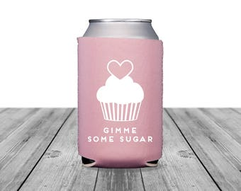 Neoprene Can Coolers, Personalized Coolies, Wedding Coolies, Bridal Shower, Custom Hugger, Can Coolers, Baby Shower, Cupcake, Heart, 1307