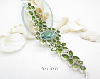 Green Amethyst and Peridot Sterling Silver Bracelet