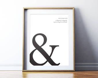Typography Art: Ampersand Printable Art Poster, Typography Symbols, Ampersand Sign, Typography Print Wall Art *Instant Download PDF & JPG*