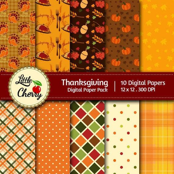 Thanksgiving 10 Printable Digital Scrapbooking Papers 12