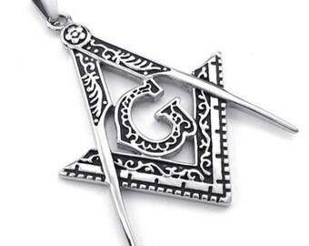Stainless Steel Men's Freemason masonic compass Square Necklace Biker Pendants G Freemasons Necklace Triangle Freemasonry Mason Necklace