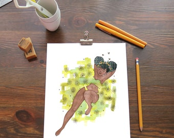 Giclee Print - Original Watercolor Painting - The Buns and the Bees PRINT