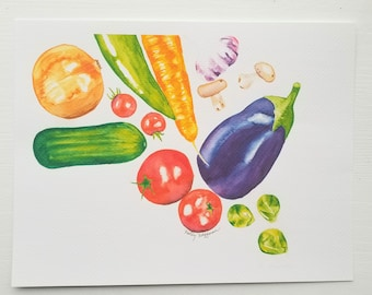 Print of Watercolor Vegetable Painting, Wall Art, Kitchen Decor