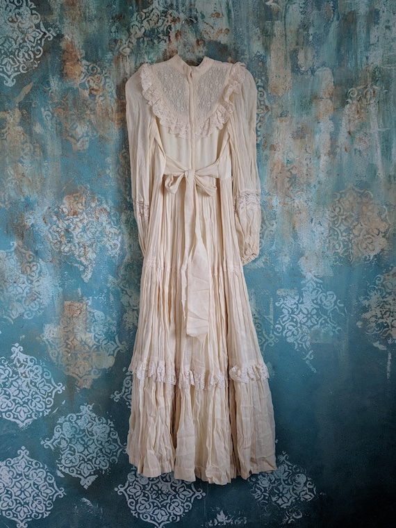 Wedding Wedding 60's Cream Dress Formal Tea Dress Romantic Gunne Vintage Sax Vintage Dress dyed Ivory Victorian TwB8qnxH