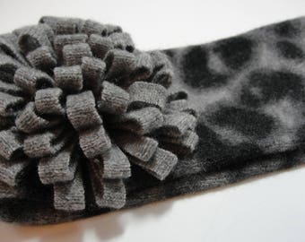 Upcycled Gray and Black Animal Print  Cashmere Earwarmer Headband with Flower