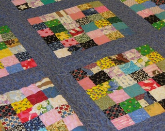 Patchwork Scrappy Lap Quilt Throw Wallhanging ready to ship
