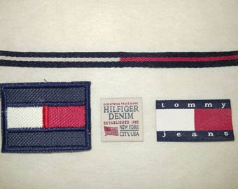 4pcs Tommy Hilfiger TH TH85 Sew on Embroidery and Woven Label hot for DIY Cap T Shirt Bag Jacket Jeans Denim Craft Collection + FREE Ship