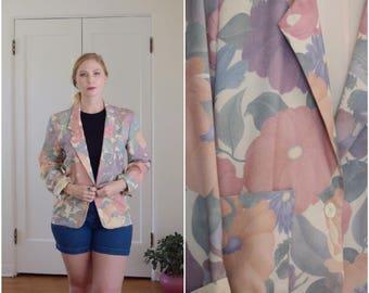 Vintage Long Sleeve Pastel Floral Blazer with Large Hip Pockets Womens Size Med-Large