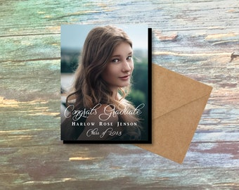 Simply Lovely Graduation Photo Magnets, personalized, class of 2018, high school, college, party favor, grad favor, grad gift + envelopes