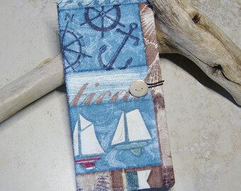 Credit Card Wallet, Card Wallet,Loyalty Card Wallet,Nautical, Beach, Card Case, Blue Nautical Fabric Case, Coastal, Seaport, Card Case