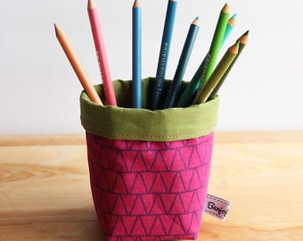 Olive & Purple Fabric Bucket - Storage, Basket, Multi-use, convertible, office accessories, desk, work, pencil cup, home, holder