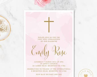 Girl First Communion Invitation Printable / Girl First Holy Communion Invite / Confirmation Invitation / Cross