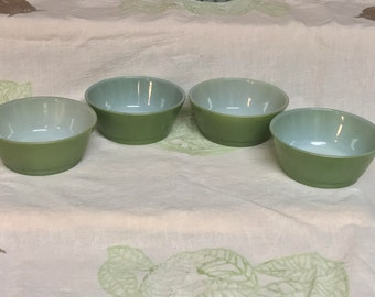 Set of 4 Vintage 1960s Fire King by Anchor Hocking Ware Avocado Green Ovenproof Bowls