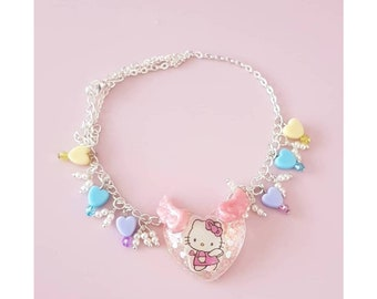 Hello kitty heart charmed necklace