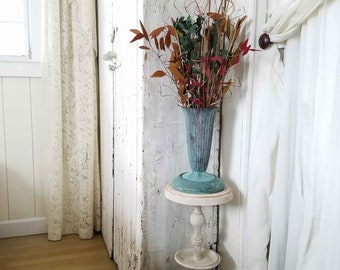 Repurposed Plant Stand with Urn ~ Faux Bronze Patina ~ Farmhouse Chic Cottage Style Home Decor