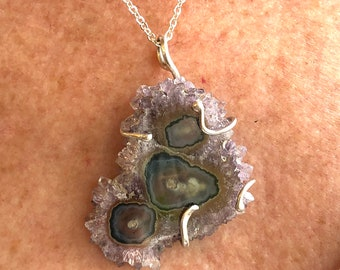 Mothers Day Gift purple Druzy pendant,  Purple Druzy gift pendant, Druzy purple pendant , Sterling silver druzy pendant, Purple purple Druzy