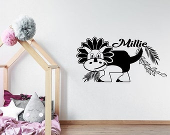 5% OFF Personalised Name Dino Wall Decal, Triceratops Dinosaur Wall Sticker, Playroom Kid's Room Decor, Jurassic world theme wall stickers